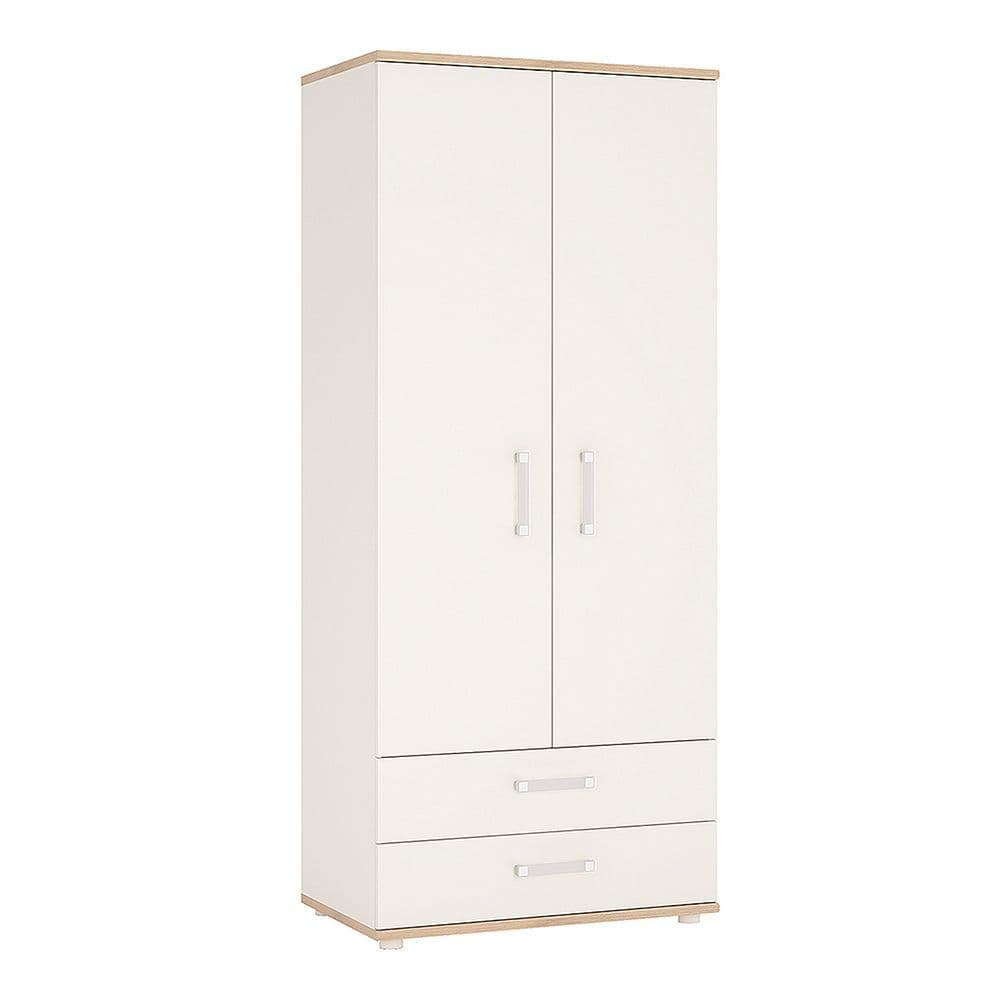 Kinder 2 Door 2 Drawer Wardrobe in Light Oak and white High Gloss (opalino handles)
